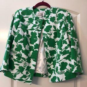 Linea by Louis Dell'Olio green/white blazer XS EUC